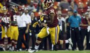 Washington Redskins running back Samaje Perine (32) runs with the ball during the first half of a preseason NFL football game against the New York Jets, Thursday, Aug. 16, 2018, in Landover, Md. (AP Photo/Alex Brandon)