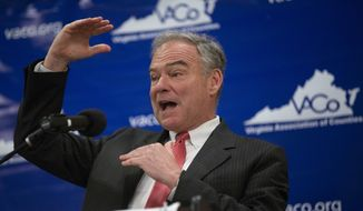 Sen. Tim Kaine (D-VA) speaks at the Virginia Association of Counties' County Officials' Summit at the Fredericksburg Expo Center in Fredericksburg, Va. on Thursday, Aug. 16, 2018. (Mike Morones/The Free Lance-Star via AP) ** FILE **