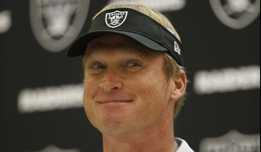 Oakland Raiders head coach Jon Gruden speaks at a news conference after an NFL preseason football game between the Raiders and the Detroit Lions in Oakland, Calif., Friday, Aug. 10, 2018. (AP Photo/D. Ross Cameron)