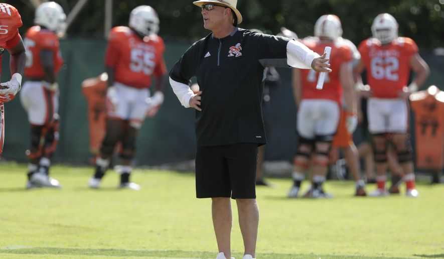 In this Monday, Aug. 6, 2018, photo, Miami head coach Mark Richt watches during NCAA college football practice, in Coral Gables, Fla. Miami is entering the 2018 season with newfound belief and usual expectations. The Hurricanes are the preseason pick to successfully defend their ACC Coastal Division title. (AP Photo/Lynne Sladky)