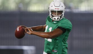 FILE - In this Tuesday, Aug. 7, 2018, file photo Oklahoma State quarterback Keondre Wudtee (11) throws during an NCAA college football practice in Stillwater, Okla. Wudtee, who suffered a bruised shoulder/sternum in spring practice, is in the mix to become the next starting quarterback. (AP Photo/Sue Ogrocki, File)