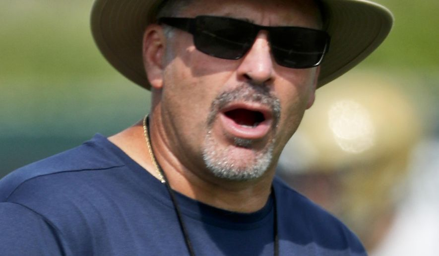 In this photo from Aug. 10, 2018, Pittsburgh head coach Pat Narduzzi watches drills during an NCAA college football practice, in Pittsburgh. Sophomore quarterback Kenny Pickett carries the hype, but Pittsburgh's progress in head coach Pat Narduzzi's fourth season will rely heavily on the defense. (AP Photo/Keith Srakocic)