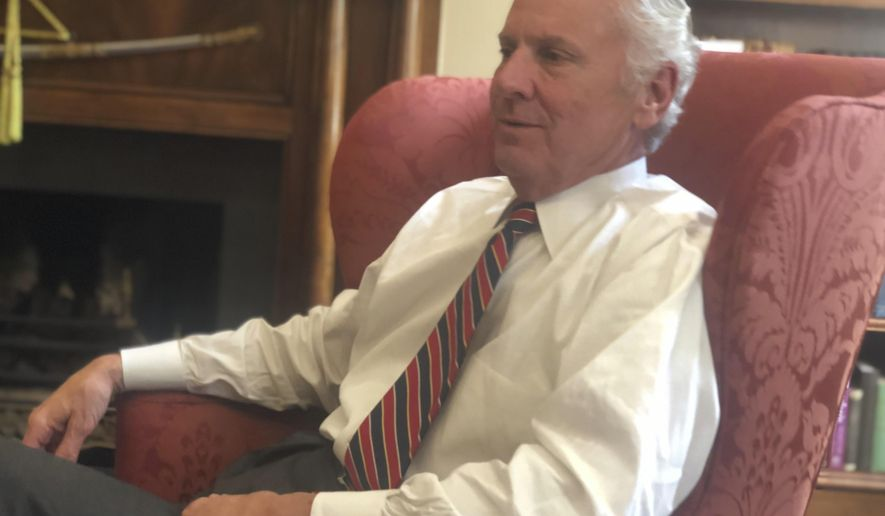 South Carolina Gov. Henry McMaster talks Wednesday, Aug. 15, 2018, about his thoughts on the tariffs proposals from his ally, President Donald Trump, at the Governor's Mansion in Columbia, S.C. McMaster told The Associated Press that he understands people's concerns but thinks a wait-and-see approach is best. (AP Photo/Meg Kinnard)