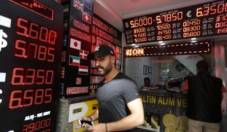 A man walks out of a currency exchange shop in Istanbul, Thursday, Aug. 16, 2018. Beset by a weak currency and tension with the United States, Turkey is reaching out to Europe in an attempt to shore up relations with major trading partners despite years of testy rhetoric and a stalled bid for EU membership. The overtures by Turkish President Recep Tayyip Erdogan, who has harshly criticized Germany and other European nations in the past, are part of a diplomatic campaign to capitalize on international unease over U.S. President Donald Trump and American tariff disputes. (AP Photo/Lefteris Pitarakis)