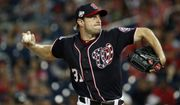 Washington Nationals starting pitcher Max Scherzer throws during the third inning of the team's baseball game against the Miami Marlins at Nationals Park, Friday, Aug. 17, 2018, in Washington. (AP Photo/Alex Brandon)