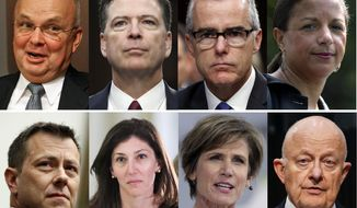 These file photos, top row from left are former CIA Director Michael Hayden, former FBI Director James Comey, former Acting FBI Director Andrew McCabe and former national security adviser Susan Rice. Bottom row from left are former FBI Deputy Assistant Director Peter Strzok, former FBI lawyer Lisa Page, former Deputy Attorney General Sally Yates and former National Intelligence Director James Clapper. President Donald Trump acted Aug. 15, 2018, on a threat and revoked the security clearance of former CIA Director John Brennan, citing a constitutional responsibility to protect classified information. Trump says he is reviewing security clearances for nine other individuals, including the eight pictured. (AP Photo/Files)