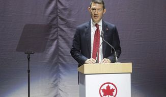 In this Feb. 9, 2017, photo Benjamin Smith, President, Passenger Airlines Air Canada, speaks before revealing the new Air Canada Boeing 787-8 Dreamliner at a hangar at the Toronto Pearson International Airport in Mississauga, Ontario. Air Canada's chief operating officer Smith has been named the new CEO of Air France-KLM. Smith will replace former Air France CEO Jean-Marc Janaillac, who quit more than three months ago when staff turned down his offer of a pay deal aimed at halting a wave of strikes. (Mark Blinch/The Canadian Press via AP)