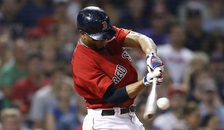 Boston Red Sox's Xander Bogaerts hits a double during the seventh inning of a baseball game against the Tampa Bay Rays in Boston, Friday, Aug. 17, 2018. (AP Photo/Michael Dwyer)