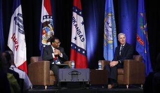 U.S. Supreme Court Justice Neil Gorsuch speaks at the Eighth Judicial District Conference as U.S. Court of Appeals for the Eighth Circuit Chief Judge Lavenski Smith, left, looks on, Friday, Aug. 17, 2018, in Des Moines, Iowa. (AP Photo/Charlie Neibergall)