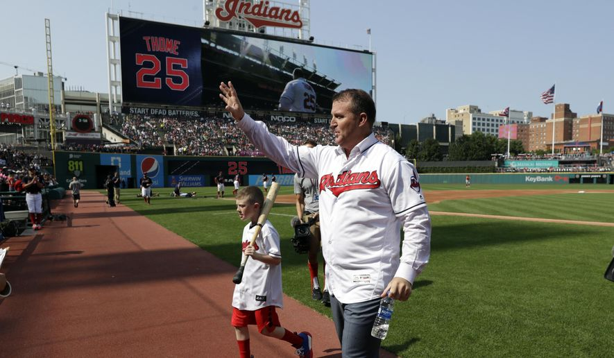 Former Cleveland Indians and Hall of Famer Jim Thome waves to fans before a baseball game between the Cleveland Indians and the Baltimore Orioles, Saturday, Aug. 18, 2018, in Cleveland. The club's career home run leader, Thome was honored during a ceremony Saturday. Thome belted 337 of his 612 career homers during two stints with the Indians and his powerful swing helped the club rise from perennial laughingstock to one of baseball's best teams in the 1990s. (AP Photo/Tony Dejak)