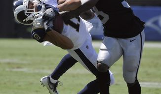 Los Angeles Rams wide receiver Khadarel Hodge, left, hauls in a pass over Oakland Raiders cornerback Nick Nelson during the first half in an NFL preseason football game Saturday, Aug. 18, 2018, in Los Angeles. (AP Photo/Mark J. Terrill)