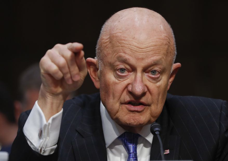 """In this Monday, May 8, 2017, file photo, former National Intelligence Director James Clapper testifies on Capitol Hill in Washington, before the Senate Judiciary subcommittee on Crime and Terrorism hearing: """"Russian Interference in the 2016 United States Election."""" (Associated Press) ** FILE **"""
