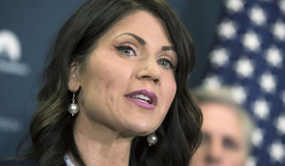 FILE - In this Dec. 5, 2017 file photo, Rep. Kristi Noem, R-S.D., and South Dakota gubernatorial candidate, speaks on Capitol Hill in Washington. Noem and state Attorney General Marty Jackley are competing for the Republican nomination for governor in the June 5, 2018, primary. (AP Photo/J. Scott Applewhite, File)
