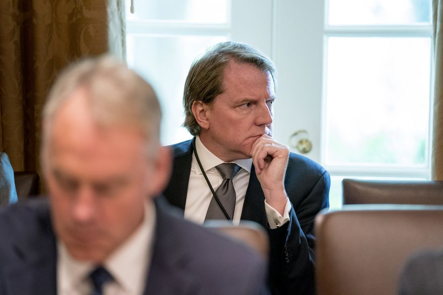 White House counsel Donald McGahn is reported to have spent 30 hours over three days answering questions as part of special counsel Robert Mueller's investigation into Russian election interference. (Associated Press/File)