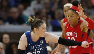 Lindsay Whalen pushes the ball up and directs the offense against the Washington Mystics during a WNBA basketball game, Sunday, Aug. 19, 2018, in Minneapolis. Minnesota won 88-83. (Richard Tsong-Taatarii/Star Tribune via AP) ** FILE **