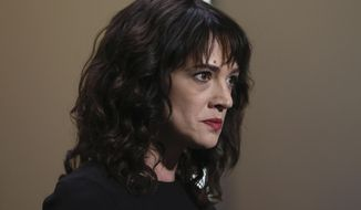 In this Saturday, May 19, 2018, file photo, actress Asia Argento speaks about being raped by Harvey Weinstein during the closing ceremony of the 71st international film festival, Cannes, southern France. The New York Times reports that Argento, one of the most prominent activists of the #MeToo movement, recently settled a lawsuit filed against her by a young actor and musician who said she sexually assaulted him when he was 17. (Photo by Vianney Le Caer/Invision/AP, File)