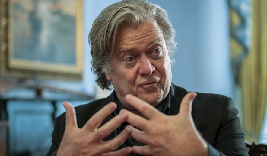 Steve Bannon, President Donald Trump's former chief strategist, talks about the approaching midterm election during an interview with The Associated Press, Sunday, Aug. 19, 2018, in Washington. Bannon told the Associated Press that if the elections were held today, he believed the GOP would lose 35 to 40 seats and the House of Representatives, but argued there was time to turn that around.  (AP Photo/J. Scott Applewhite)