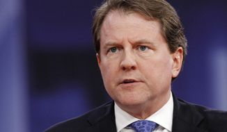 In this Feb. 22, 2018, file photo White House counsel Don McGahn speaks at the Conservative Political Action Conference (CPAC), at National Harbor, Md. (AP Photo/Jacquelyn Martin, File)