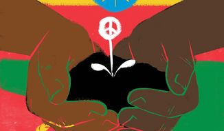 Illustration on renewed hope for Ethiopia and Eritrea by Linas Garsys/The Washington Times