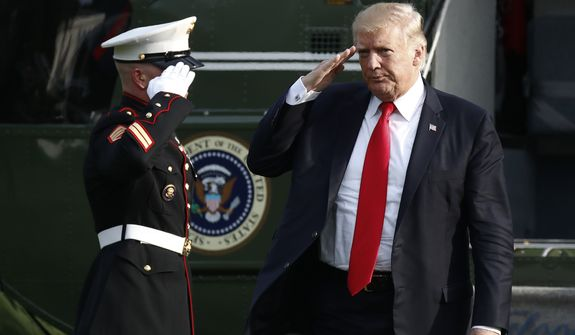 President Donald Trump salutes as he arrives on Marine One on the South Lawn of the White House in Washington, Wednesday, Aug. 30, 2017, as he returns from Springfield, Mo. (AP Photo/Carolyn Kaster)