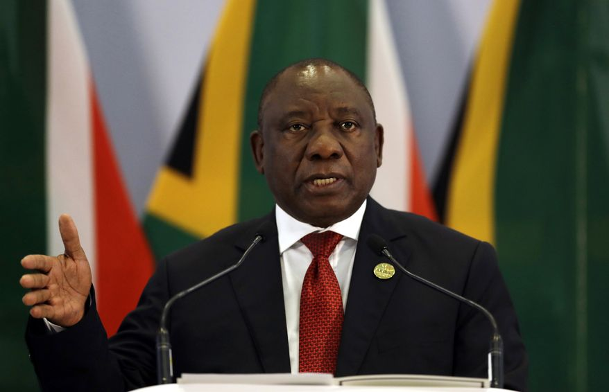 South African President Cyril Ramaphosa said three weeks ago, after a two-day ANC meeting, that the country's dominant party will push ahead to amend the constitution to allow for pure expropriation of land. (Associated Press)