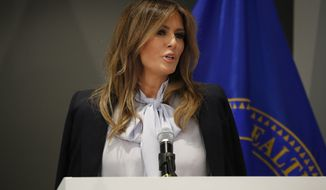 First lady Melania Trump speaks at the 6th Federal Partners in Bullying Prevention (FPBP) Summit at Health and Human Service in Rockville, Md., Monday, Aug. 20, 2018. (AP Photo/Pablo Martinez Monsivais)