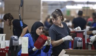 FILE - In this Sept. 2, 2015 file photo, employees work at the SodaStream factory near the Bedouin city of Rahat, Southern Israel. Beverage giant PepsiCo has bought Israel's fizzy drink maker SodaStream for $3.2 billion. PepsiCo said on Monday, Aug. 20, 2018, that it is acquiring all SodaStream's outstanding shares at $144 per share, a 32 percent premium to the 30-day volume weighted average price. (AP Photo/Dan Balilty, File)