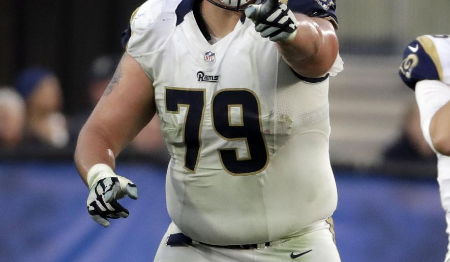 FILE - In this Dec. 11, 2016 file photo Los Angeles Rams offensive tackle Rob Havenstein (79) points to a player during the first half of an NFL football game against the Atlanta Falcons in Los Angeles. Havenstein on Monday, Aug. 20, 2018 agreed to terms of a four-year contract extension through the 2022 season. (AP Photo/Rick Scuteri, file)