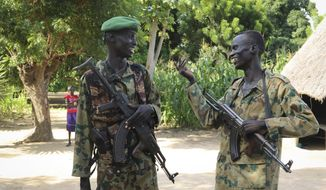 Opposition soldiers chatted outside their base in Unity state. The South Sudanese government claims a shattering five-year civil war is finally over, but skepticism remains high. (Associated Press/File)