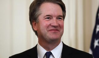 "In this July 9, 2018, file photo, Judge Brett Kavanaugh, President Donald Trump's Supreme Court nominee stands in the East Room of the White House in Washington. Kavanaugh suggested that attorneys preparing to question President Bill Clinton in 1998 seek graphic details about the president's sexual relationship with Monica Lewinsky. The questions are part of a memo in which Kavanaugh advised Independent Counsel Ken Starr and others not to give the president ""any break"" during questioning. He suggested Clinton be asked whether he had phone sex with Lewinsky and whether he performed specific sexual acts. (AP Photo/Alex Brandon, File)"