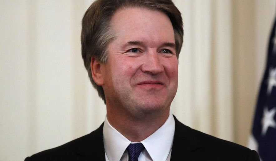 """In this July 9, 2018, file photo, Judge Brett Kavanaugh, President Donald Trump's Supreme Court nominee stands in the East Room of the White House in Washington. Kavanaugh suggested that attorneys preparing to question President Bill Clinton in 1998 seek graphic details about the president's sexual relationship with Monica Lewinsky. The questions are part of a memo in which Kavanaugh advised Independent Counsel Ken Starr and others not to give the president """"any break"""" during questioning. He suggested Clinton be asked whether he had phone sex with Lewinsky and whether he performed specific sexual acts. (AP Photo/Alex Brandon, File)"""