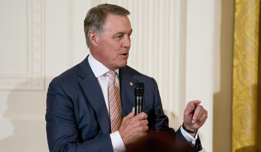 Sen. David Perdue, R-Ga., speaks at a roundtable during an event to salute U.S. Immigration and Customs Enforcement (ICE) officers and U.S. Customs and Border Protection (CBP) agents in the East Room of the White House in Washington, Monday, Aug. 20, 2018. (AP Photo/Andrew Harnik) ** FILE **
