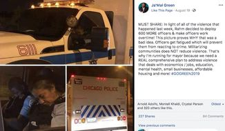 The Chicago Police Department is facing scrutiny after two police officers where photographed sleeping on the job during another crime-filled weekend. (Facebook/@Ja'Mal Green)