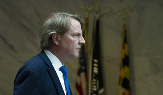 White House counsel Don McGahn, follows Supreme Court nominee Judge Brett Kavanaugh to his meeting with Sen. Kamala Harris D-Calif., on Capitol Hill in Washington, Tuesday, Aug. 21, 2018. (AP Photo/Jose Luis Magana)