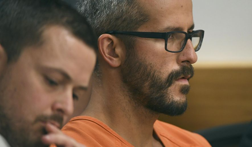 Christopher Watts is in court for his arraignment hearing at the Weld County Courthouse on Tuesday, Aug. 21, 2018 in Roggen, Colorado. Watts faces nine charges, including several counts of first-degree murder of his wife and his two young daughters. (RJ Sangosti/The Denver Post via AP, Pool)