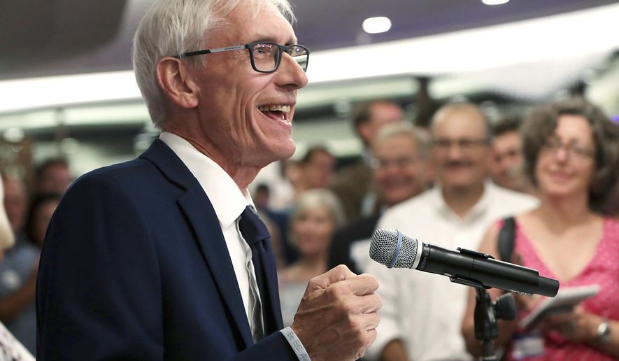 FILE - In this Aug. 14, 2018, file photo, Tony Evers speaks after winning Wisconsin's Democratic gubernatorial primary election during an event in Madison, Wis. Evers emerged from a field of eight candidates to take on Republican Gov. Scott Walker in the November election. (Amber Arnold/Wisconsin State Journal via AP, File)