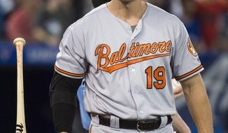 Baltimore Orioles' Chris Davis (19) flips his bat after striking out against the Toronto Blue Jays during the third inning of a baseball game, Tuesday, Aug. 21, 2018, in Toronto. (Nathan Denette/The Canadian Press via AP)