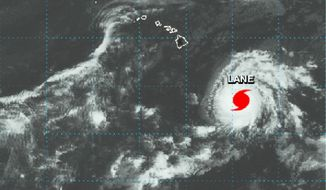 This NASA satellite imagery shows Hurricane Lane in the Central Pacific Ocean southeast of the Hawaiian Islands at 2:01 p.m. HST (21:01 GMT) Monday, Aug. 20, 2018. National Weather Service forecasters warn that the entire state of Hawaii needs to brace for a possible hurricane strike because of the uncertainty of Lane's path and its intensity. As of Monday, the storm is about 600 miles (966 kilometers) southeast of Hilo on the Big Island, or about 800 miles (1,287 kilometers) from the state's capital city of Honolulu. (NASA via AP)