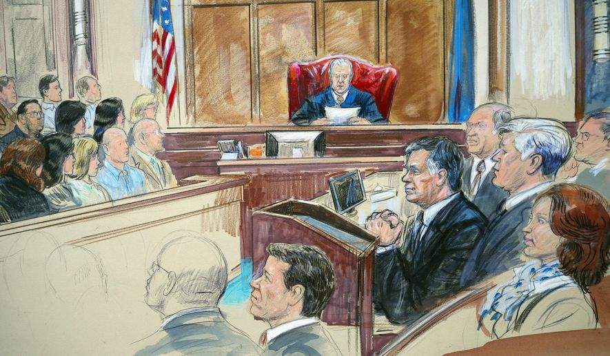 This courtroom sketch shows Paul Manafort listening to U.S. District court Judge T.S. Ellis III at federal court in Alexandria, Va., Tuesday, Aug. 21, 2018. Manafort, the longtime political operative who for months led Donald Trump's winning presidential campaign, was found guilty of eight financial crimes in the first trial victory of the special counsel investigation into the president's associates. A judge declared a mistrial on 10 other counts the jury could not agree on. Kathleen Manafort listens at far right. (Dana Verkouteren via AP)