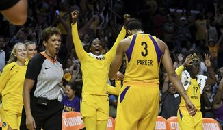 The Los Angeles Sparks celebrate after defeating the Minnesota Lynx 75-68 during a single elimination WNBA basketball playoff game, Tuesday, Aug. 21, 2018, in Los Angeles. (Keith Birmingham/The Orange County Register via AP) ** FILE **