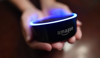 In this Thursday, Aug. 16, 2018, file photo a child holds his Amazon Echo Dot in Kennesaw, Ga. Amazon updated its voice assistant with a feature that can make Alexa more kid-friendly. When the FreeTime feature is activated, Alexa answers certain questions differently. (AP Photo/Mike Stewart)