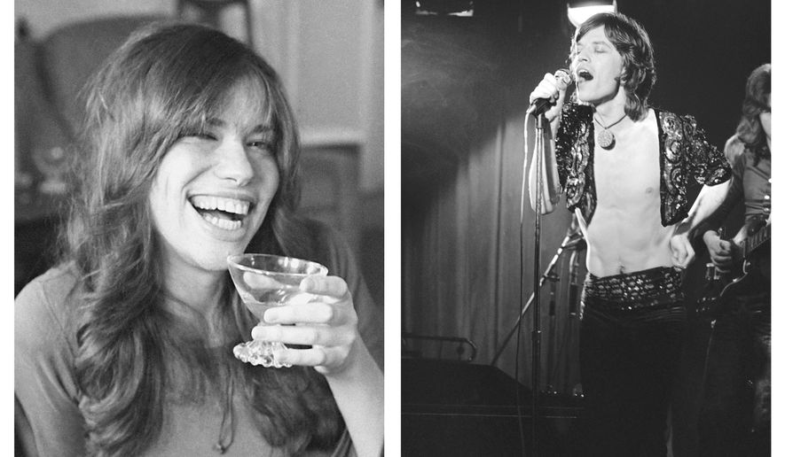 """IN THIS TWO PHOTO COMBO, with Carly Simon, left, and Mick Jagger at right. It is revealed Wednesday Aug. 22, 2018, that a lost Mick Jagger duet with Carly Simon has been found more than 45-years after it was first recorded apparently in 1972, with Jagger and Simon seemingly sitting together at a piano and singing a slow love ballad thought to be named """"Fragile"""".  FILE PHOTOS : LEFT - photo dated Nov. 19, 1971, songwriter and singer Carly Simon.  RIGHT - file photo dated March 26, 1971, Mick Jagger, of the Rolling Stones rock group during a farewell performance at the Marquee Club, on Wardour Street in London.  (AP Photo, TWO FILE PHOTO COMBO)"""