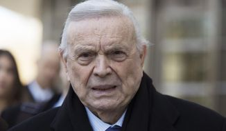 FILE - This Nov. 17, 2017, file photo, shows Jose Maria Marin leaving federal court in the Brooklyn borough of New York. Marin, the former president of Brazil's soccer federation, was sentenced sentenced to four years in prison on Wednesday, Aug. 22, 2018, for his conviction on corruption charges in the sprawling FIFA bribery scandal.(AP Photo/Mary Altaffer, File)