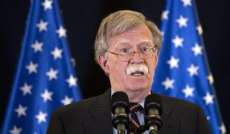 U.S. national security adviser John Bolton gives a media conference in Jerusalem, Israel, Wednesday Aug. 22, 2018. Bolton has conducted high level diplomatic meetings during his visit to Israel. (Abir Sultan/Pool via AP)