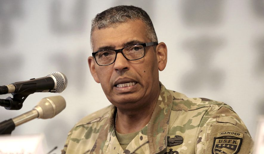 """U.S. Gen. Vincent Brooks commander of the United Nations Command, U.S. Forces Korea and Combined Forces Command, speaks during a press conference at the Seoul Foreign Correspondents Club in Seoul, South Korea, Wednesday, Aug. 22, 2018. Brooks said he is cautiously optimistic that nuclear diplomacy will work out with North Korea. But he also says that Seoul and Washington must continue to apply pressure so that """"there's not a reason or even an ability"""" for the North to back out. (AP Photo/Ahn Young-joon)"""
