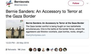 """This undated image provided by the cybersecurity firm FireEye shows a Tweet from a social media persona related to a group called """"Liberty Front Press"""" using the Twitter handle """"@Berniecratss."""" FireEye called the group an influence operation apparently aimed at promoting Iranian political interests. The group had multiple social media personas that masqueraded as liberal U.S. activists. (FireEye via AP)"""