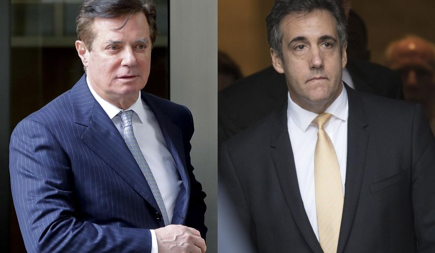 In these 2018 file photos, Paul Manafort leaves federal court in Washington, left and attorney Michael Cohen leaves federal court in New York. The one-two punch ahead of the midterm elections _ the plea from former Trump lawyer Cohen and the fraud conviction of one-time campaign chairman Manafort _ is presenting the biggest loyalty test yet for Republicans who have been reluctant to criticize the president. (AP Photo/File)