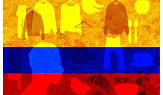 Illustration on Danny Moreno's work in Colombia by Alexander Hunter/The Washington Times