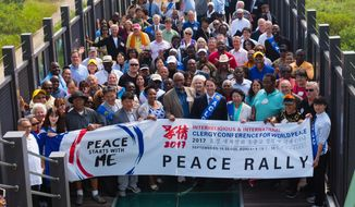 More than 200 American faith leaders gathered at the Demilitarized Zone separating the Koreas to pray for peace. (PHOTO CREDIT: HSA-UWC)