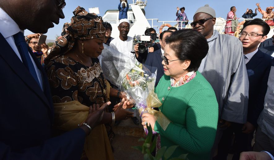 Gore Island Mayor Augustin Senghor and first Lady honored Mother Moon for bringing peace and healing to his region. (PHOTO CREDIT: HSA-UWC)